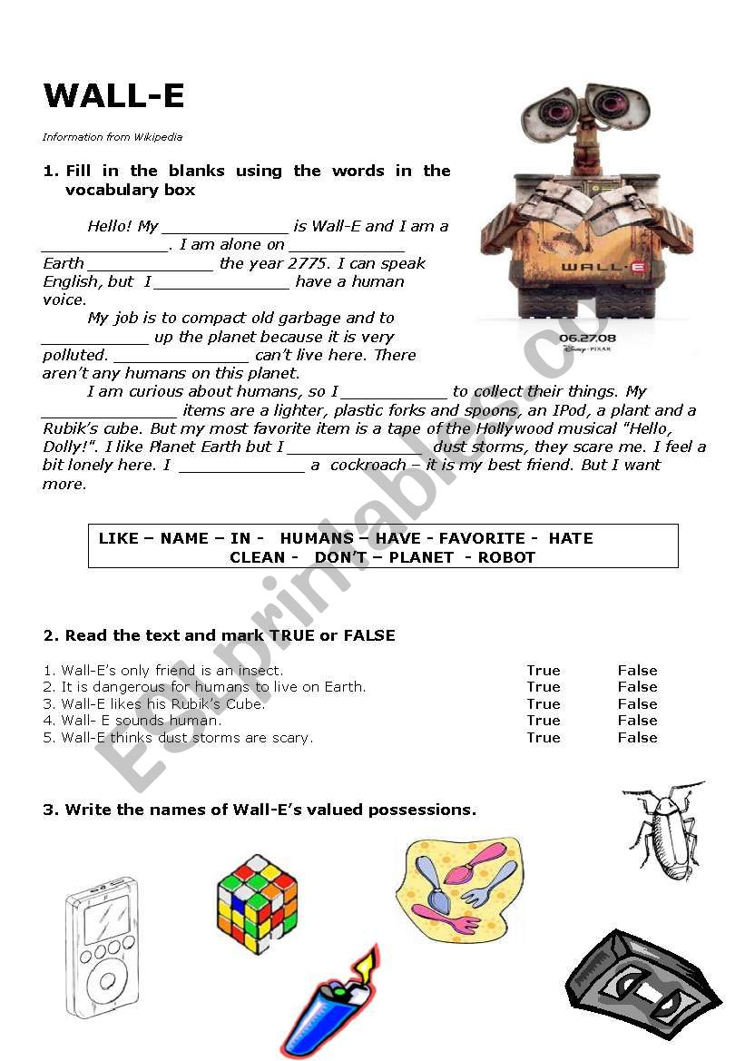 Wall-E worksheet