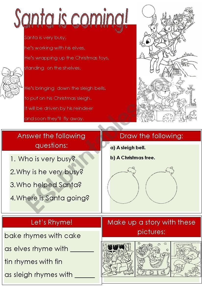 Santa is coming! worksheet
