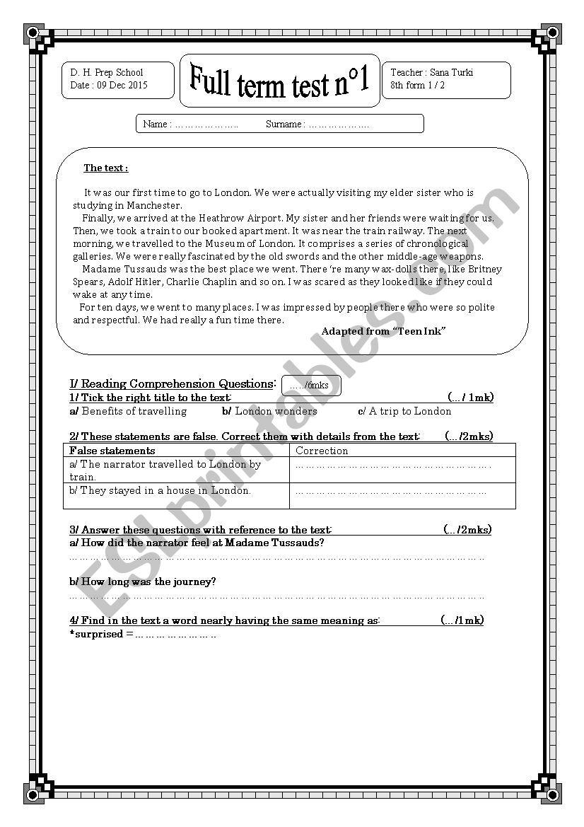 Full term test n°1(8th form) worksheet