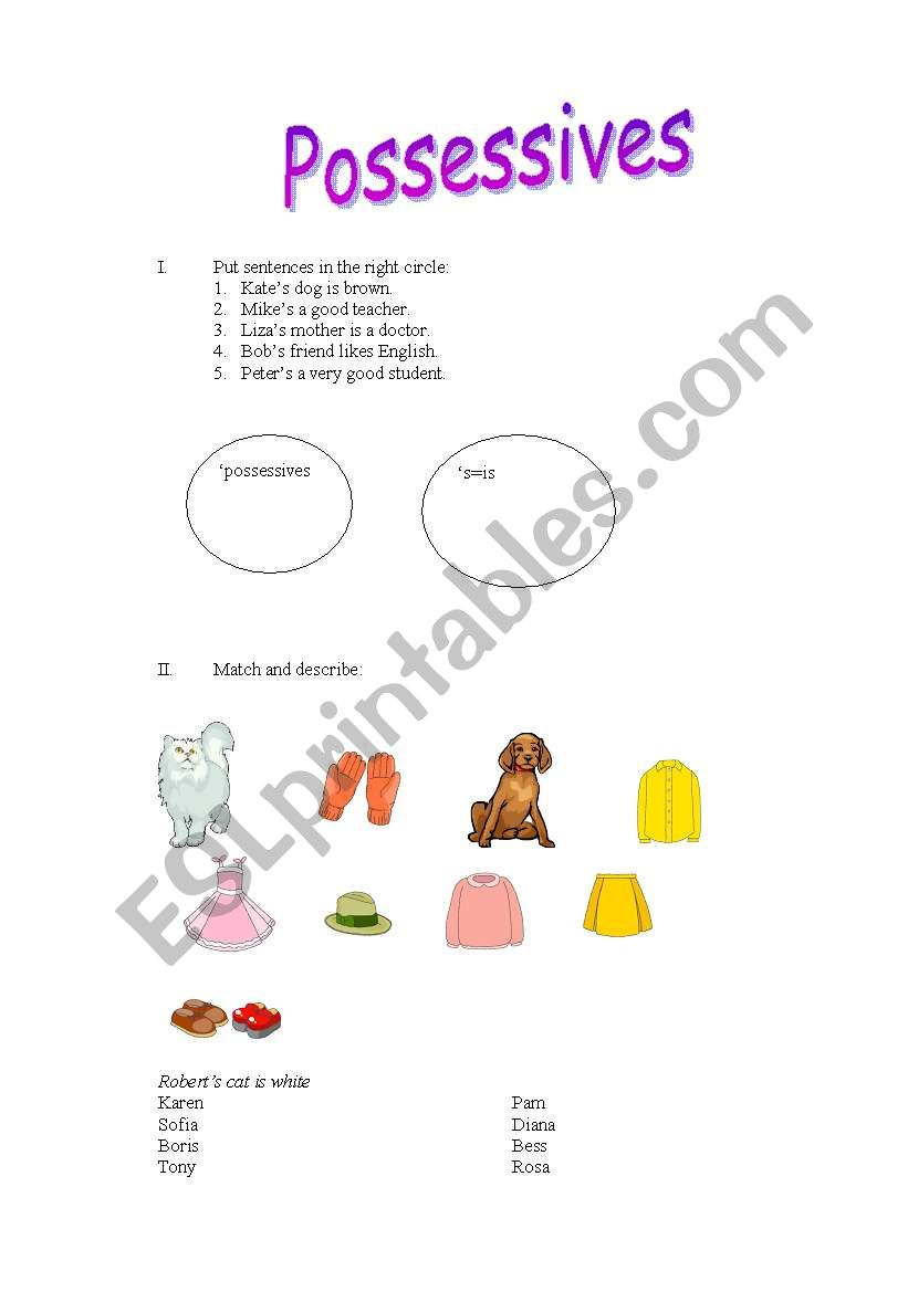 Possessives worksheet