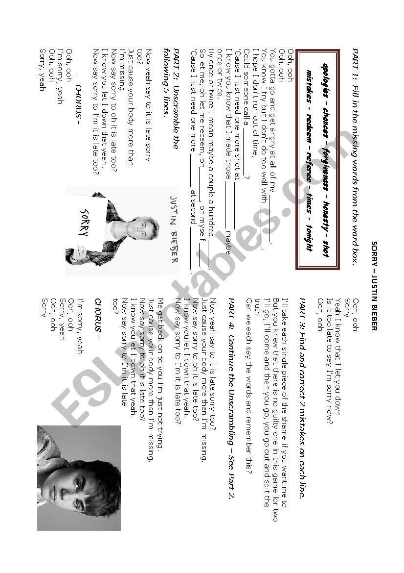 Sorry by Justin Bieber worksheet