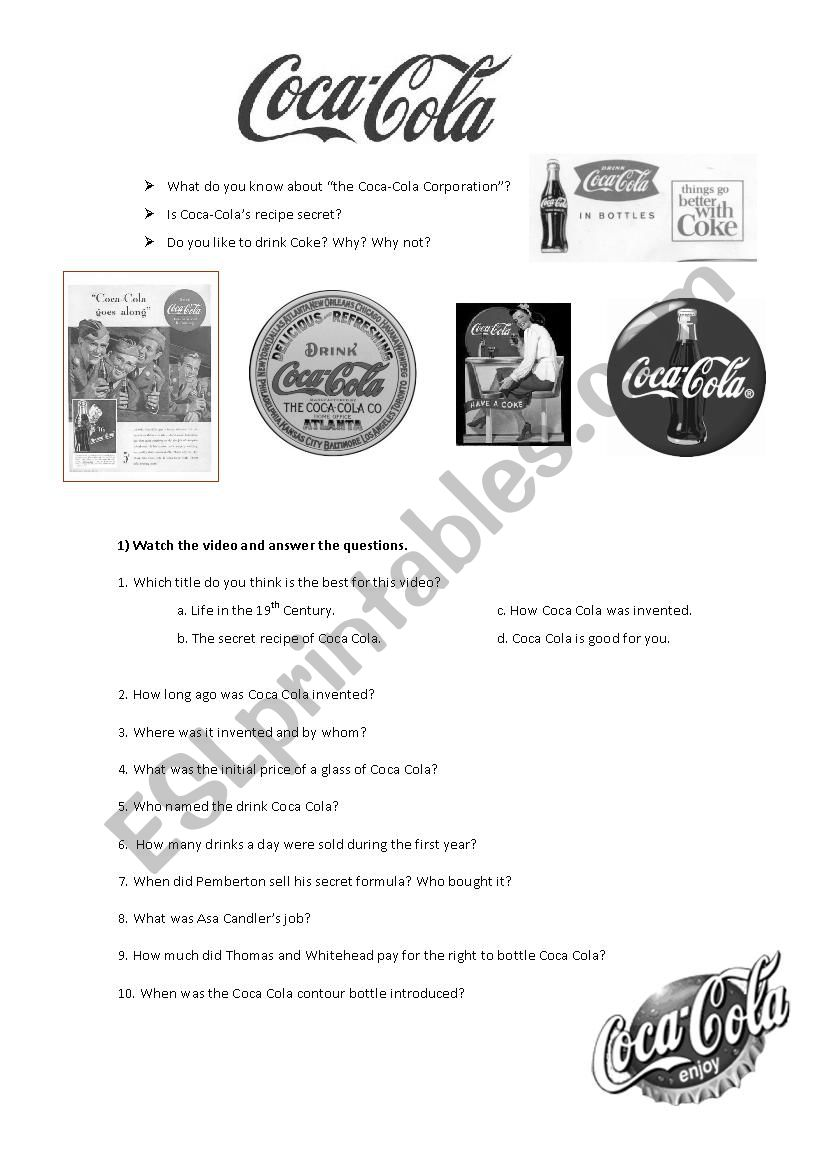 Animated history of Coca-Cola worksheet