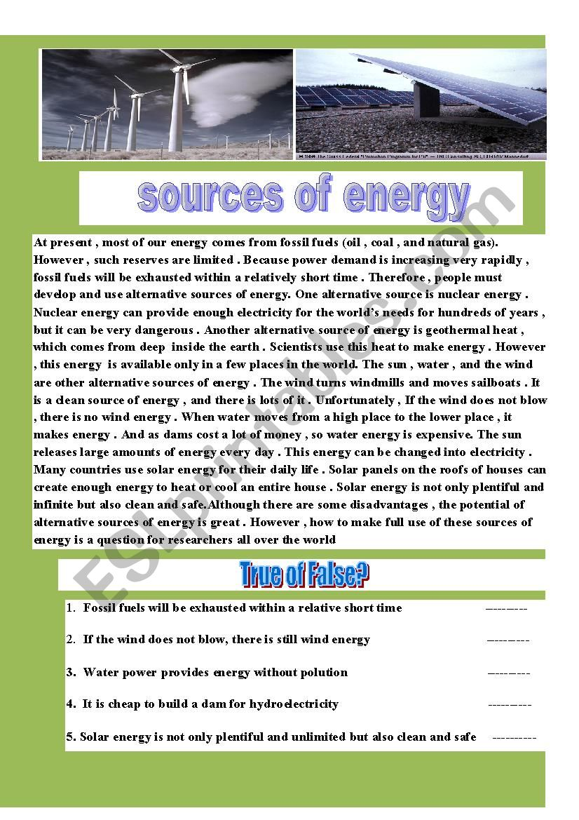 sources of energy reading worksheet