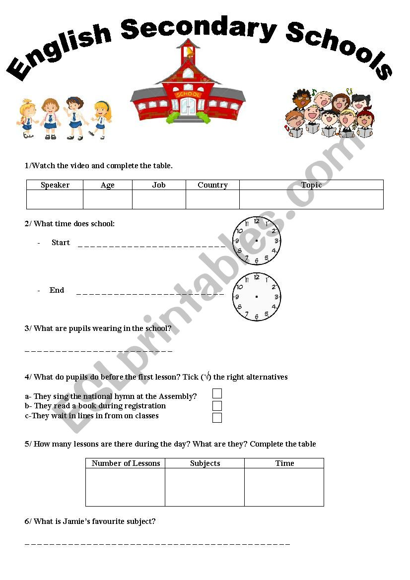 Third Hour Activity 8th Form Basic Education- English Secondary Schools