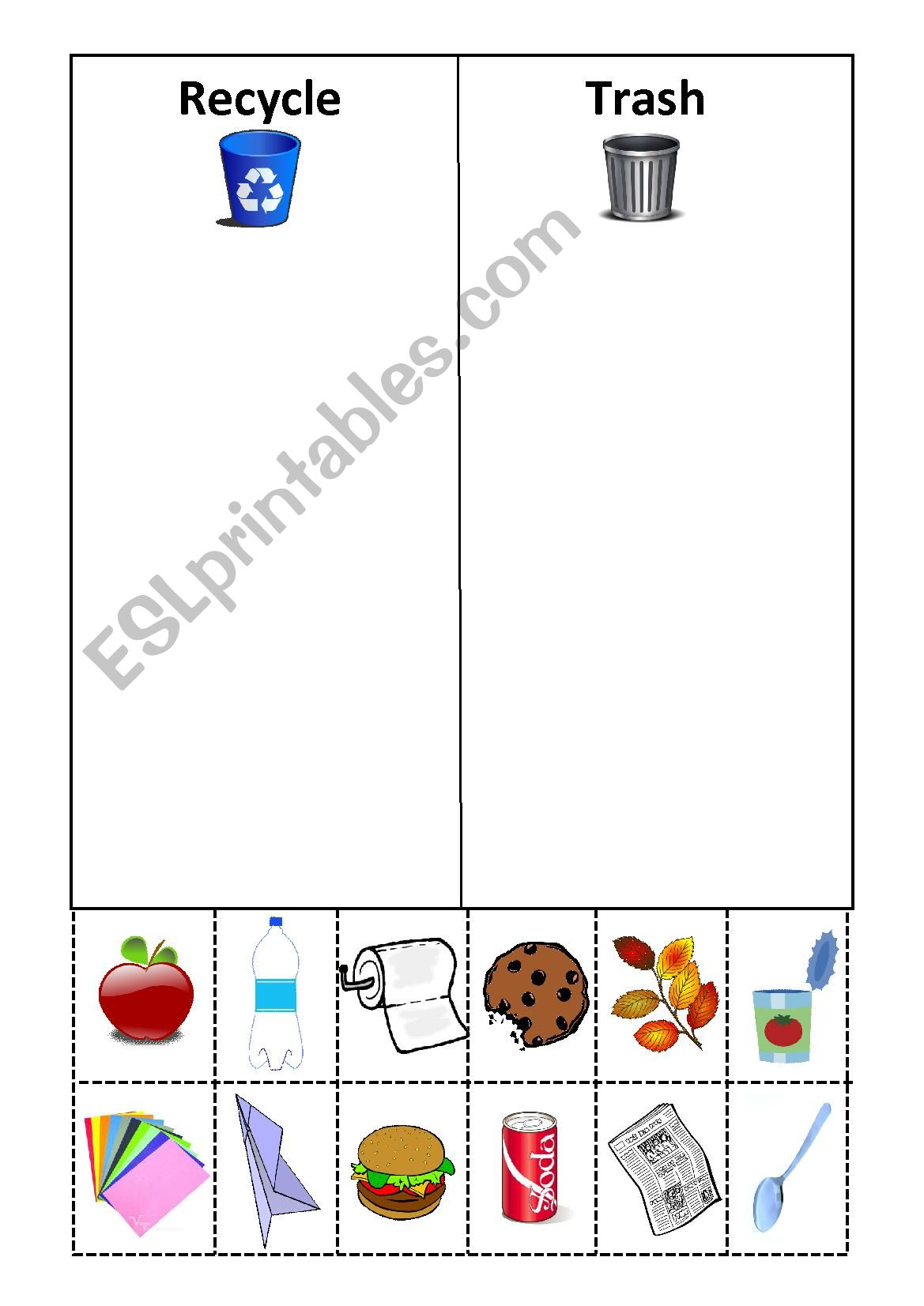 Recycle Cut And Paste Esl Worksheet By Slhyasemin
