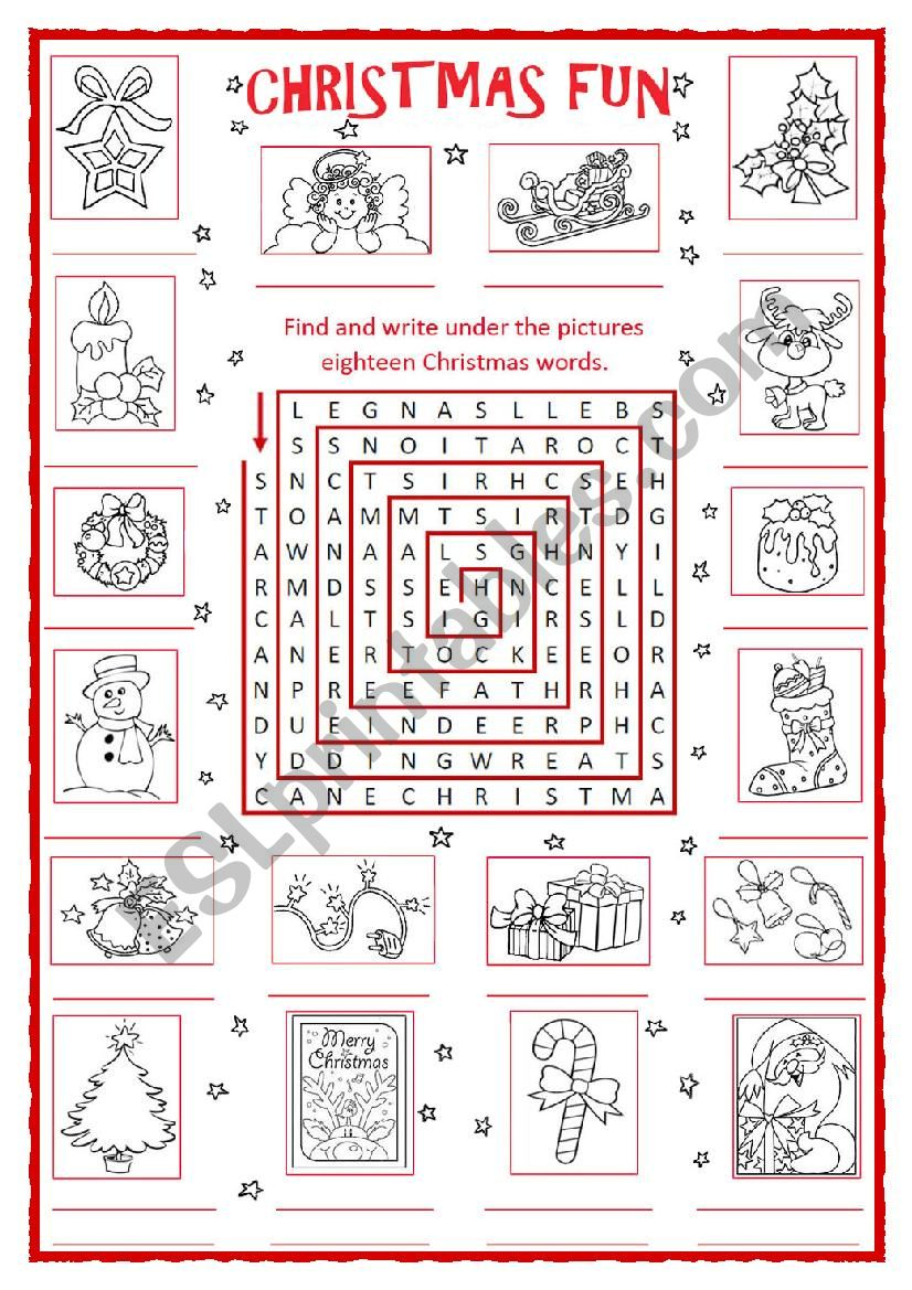 Christmas Fun Word search - ESL