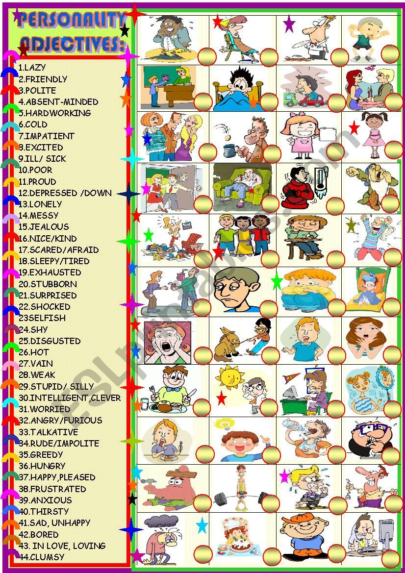 Personality adjectives or emotions: matching activity