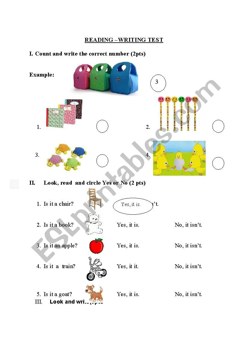 - Reading And Writing Tests For Grade 1 - ESL Worksheet By Nguyenduong