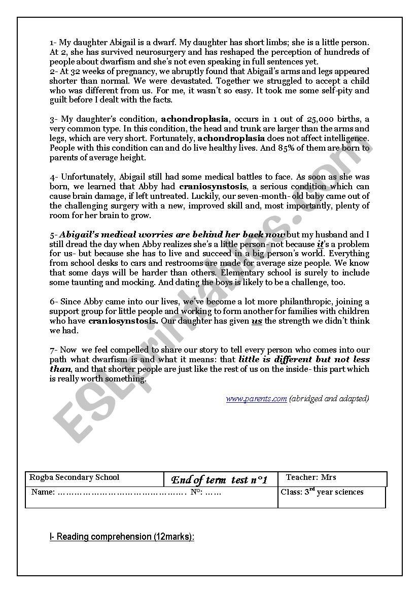 full-term test n1 worksheet