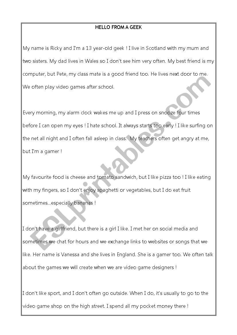 - Geek _ Written Comprehension - ESL Worksheet By Misslocke