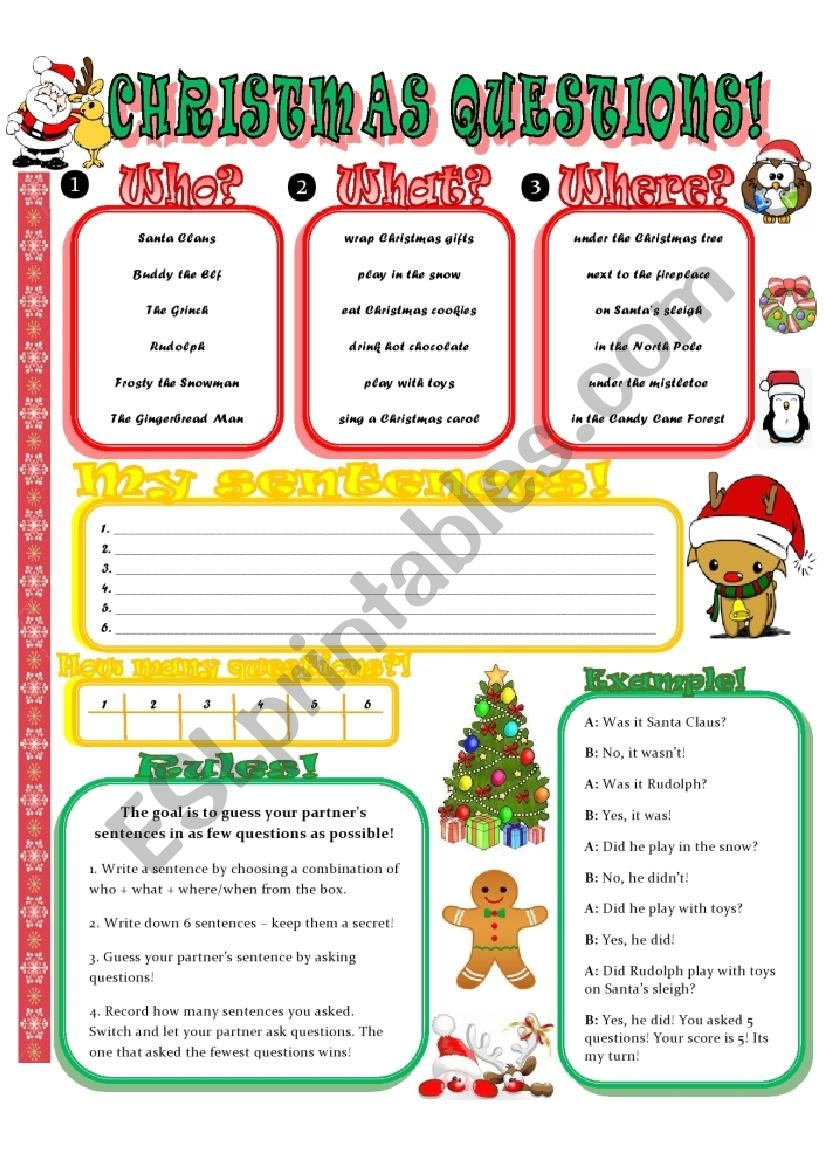 Christmas Questions To Ask.Christmas Conversation Questions Color B W Esl