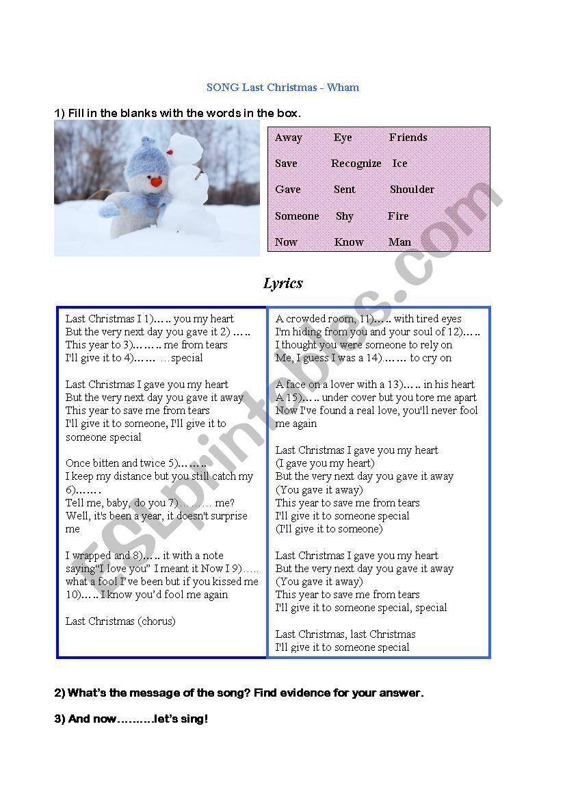 Last Christmas worksheet
