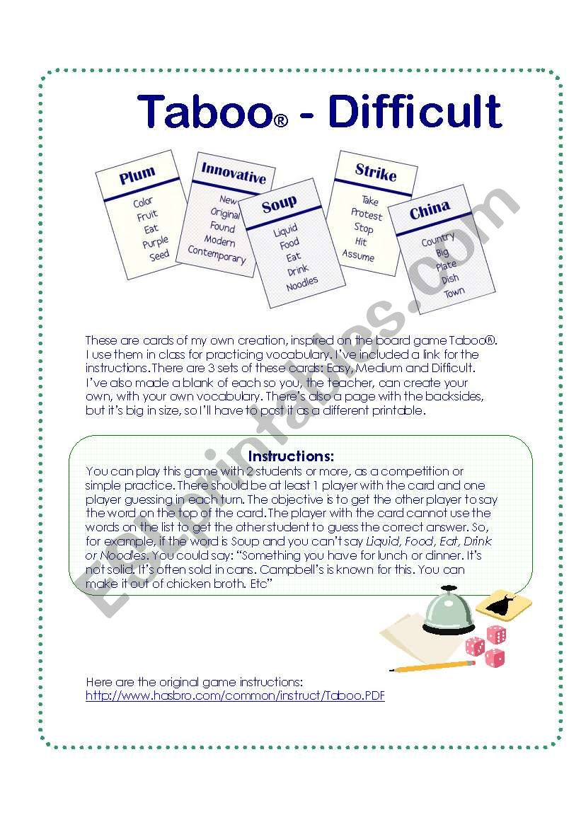 picture about Printable Taboo Cards called Sport playing cards impressed upon the Taboo® Board Activity - Impossible