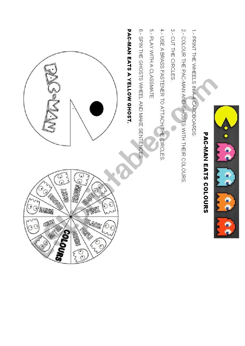 Pac-man eats colours worksheet