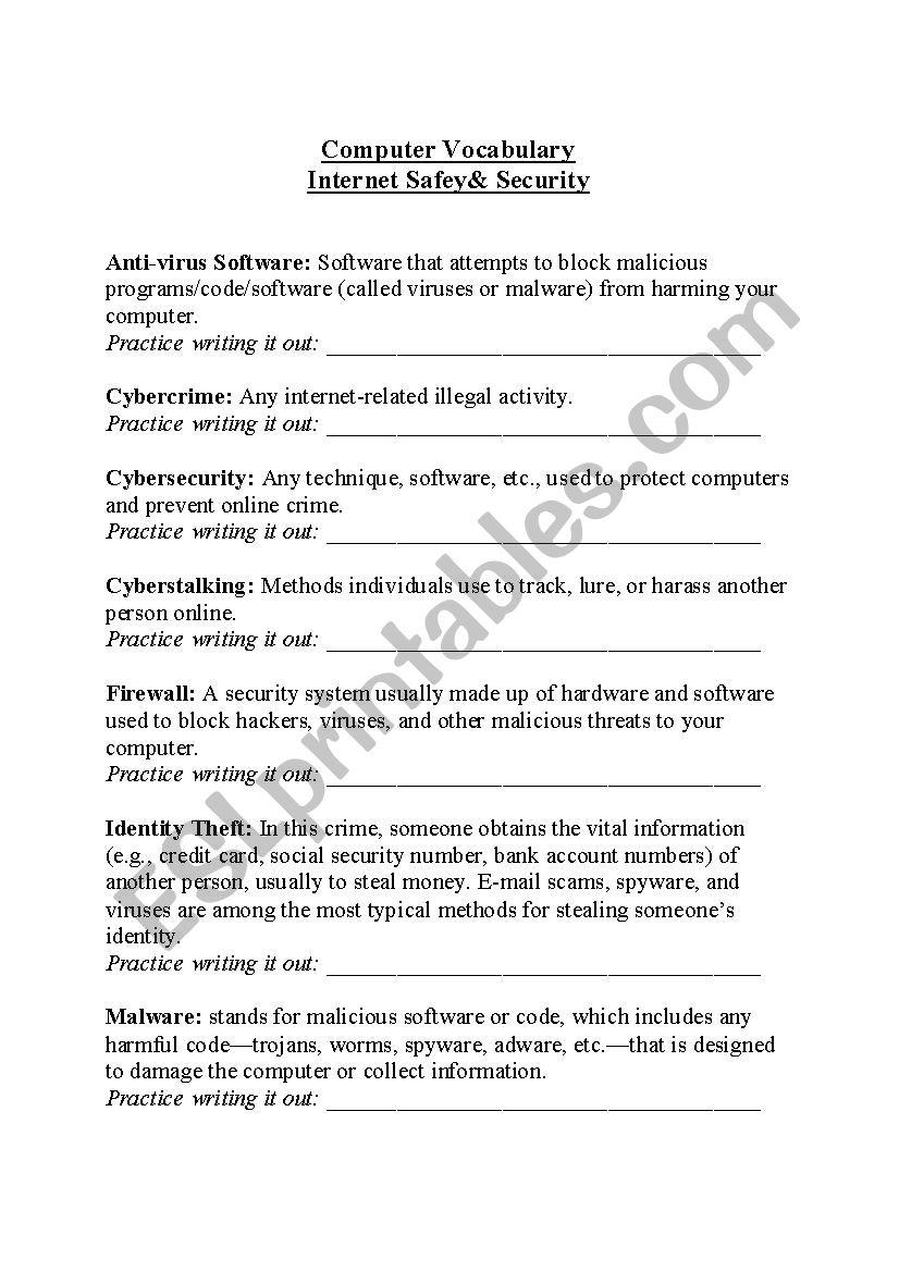 Computer Vocabulary: Internet Safety