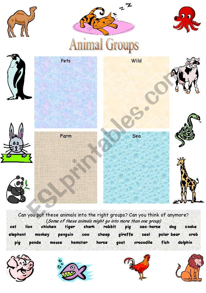 animal groups esl worksheet by mowells. Black Bedroom Furniture Sets. Home Design Ideas