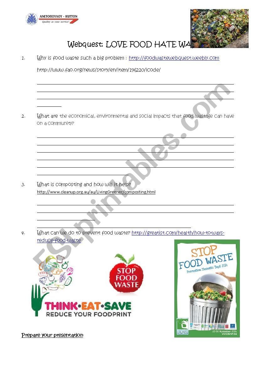Webquest - Food Waste worksheet