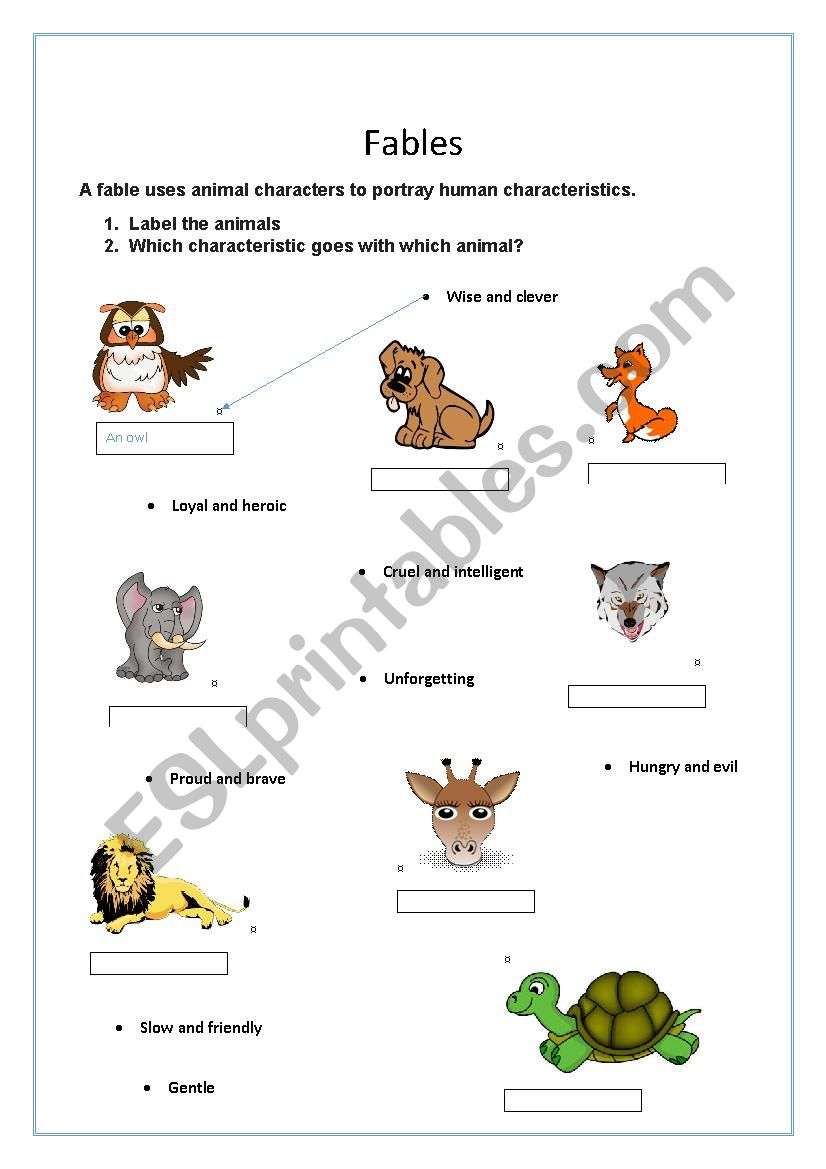 Fables - animals and characteristics - ESL worksheet by ... on animal challenges worksheets, animal actions worksheets, animal life cycle worksheets, animal activities worksheets, animal health worksheets, animal cells worksheets, days of the week worksheets, similarities and differences worksheets, animal research worksheets, addition & subtraction worksheets, animals vertebrates and invertebrates worksheets, animal family worksheets, identifying emotions worksheets, first grade animal classification worksheets, animal name worksheets, animal color worksheets, simple fractions worksheets, animal behavior worksheets, animal species worksheets, animal worksheets for 1st grade,