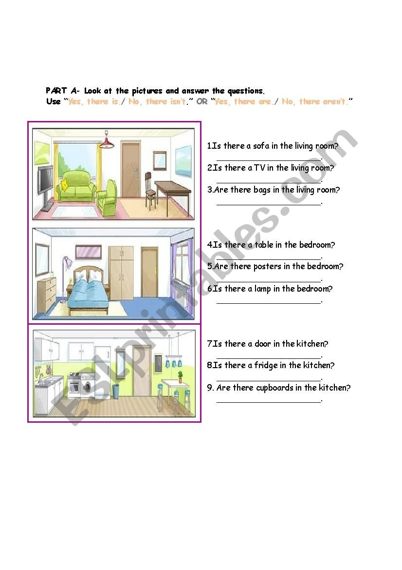 PARTS OF THE HOUSE- THERE IS/THERE ARE QUESTION FORM AND READING MULTIPLE CHOICE