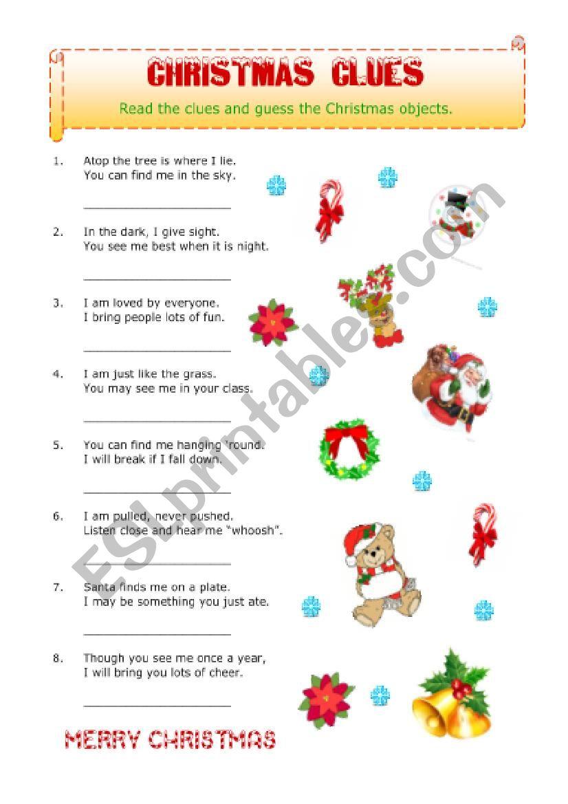 Christmas Clues worksheet