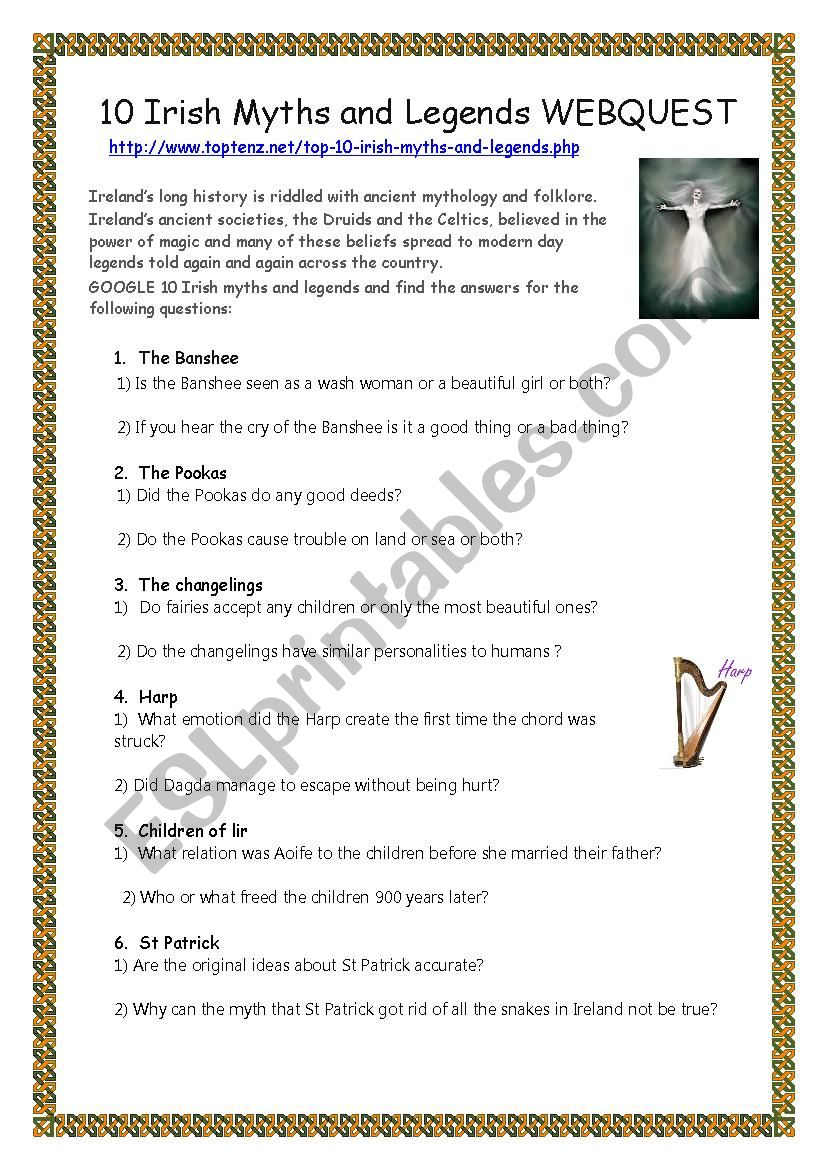 English Worksheets 10 Irish Myths And Legends Webquest