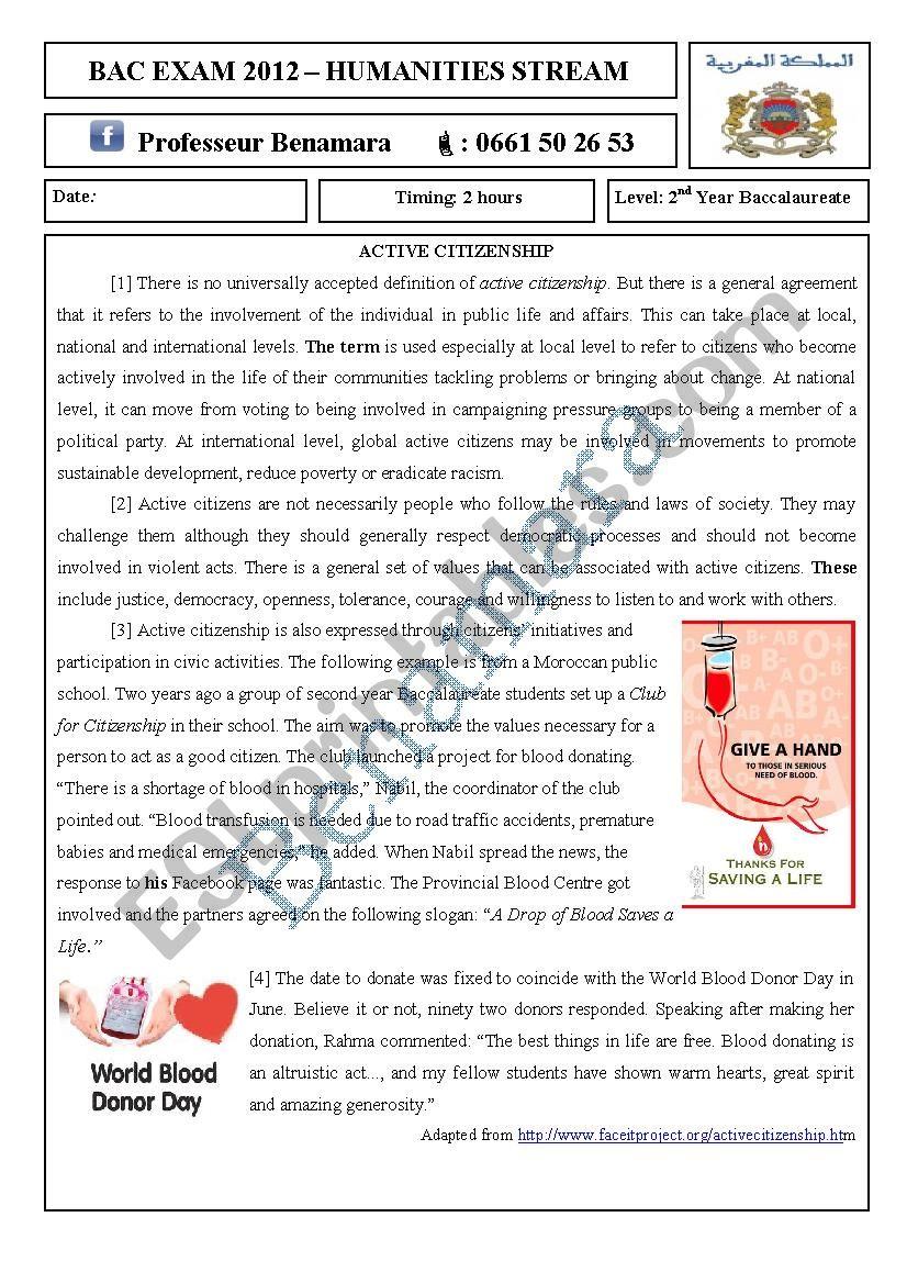 Citizenship Esl Worksheet By English4ever2012
