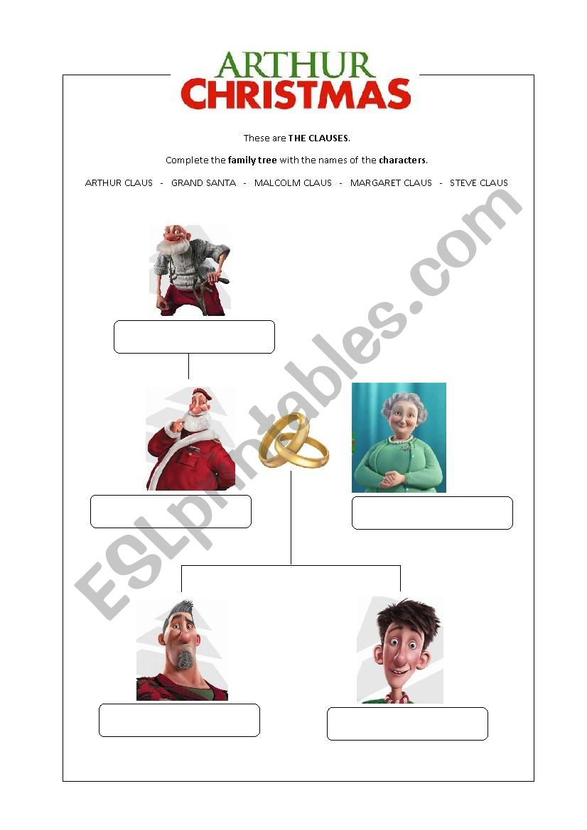 Arthur Christmas Characters.Arthur Christmas Family Tree Esl Worksheet By Elenapaat