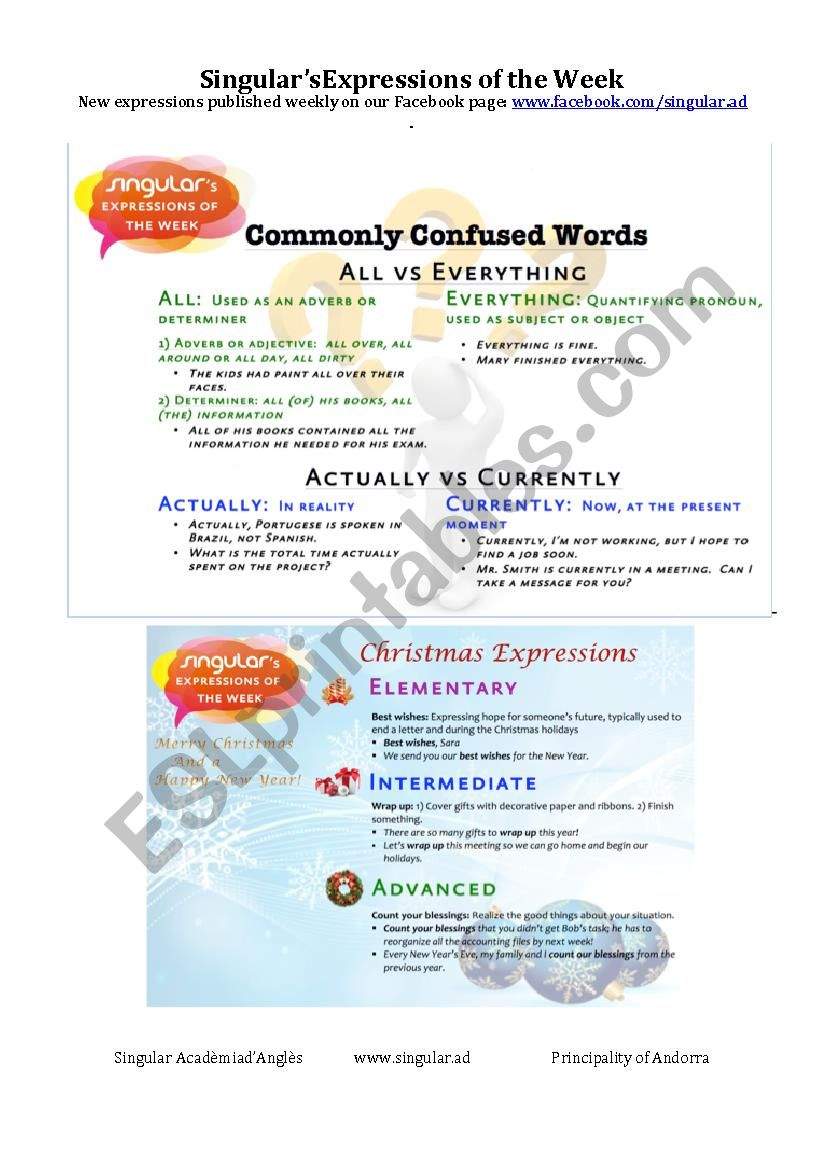 Christmas Expressions.Expressions Of The Week Commonly Confused Words Christmas