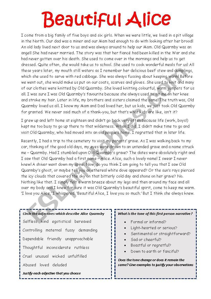 Beautiful Alice worksheet