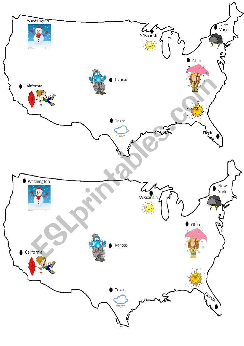 USA map weather - ESL worksheet by ecemsin