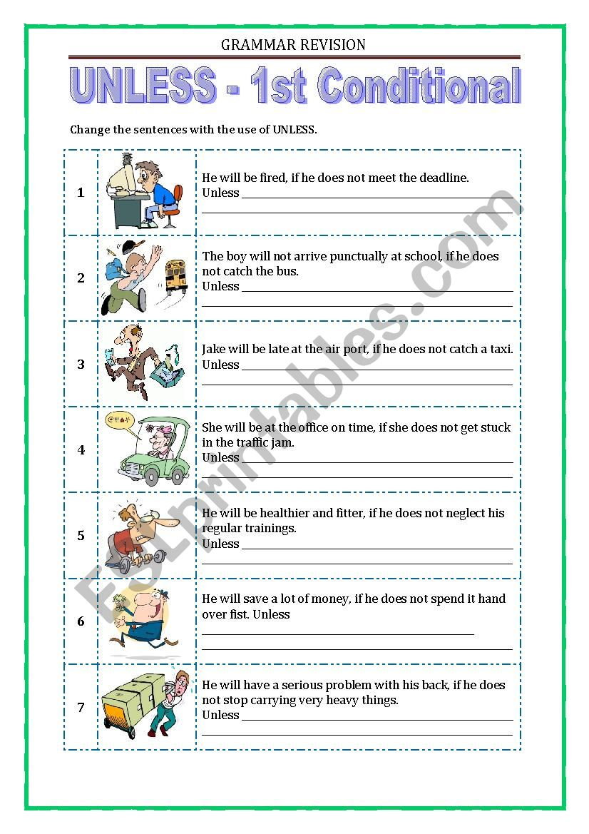 GRAMMAR REVISION - UNLESS worksheet