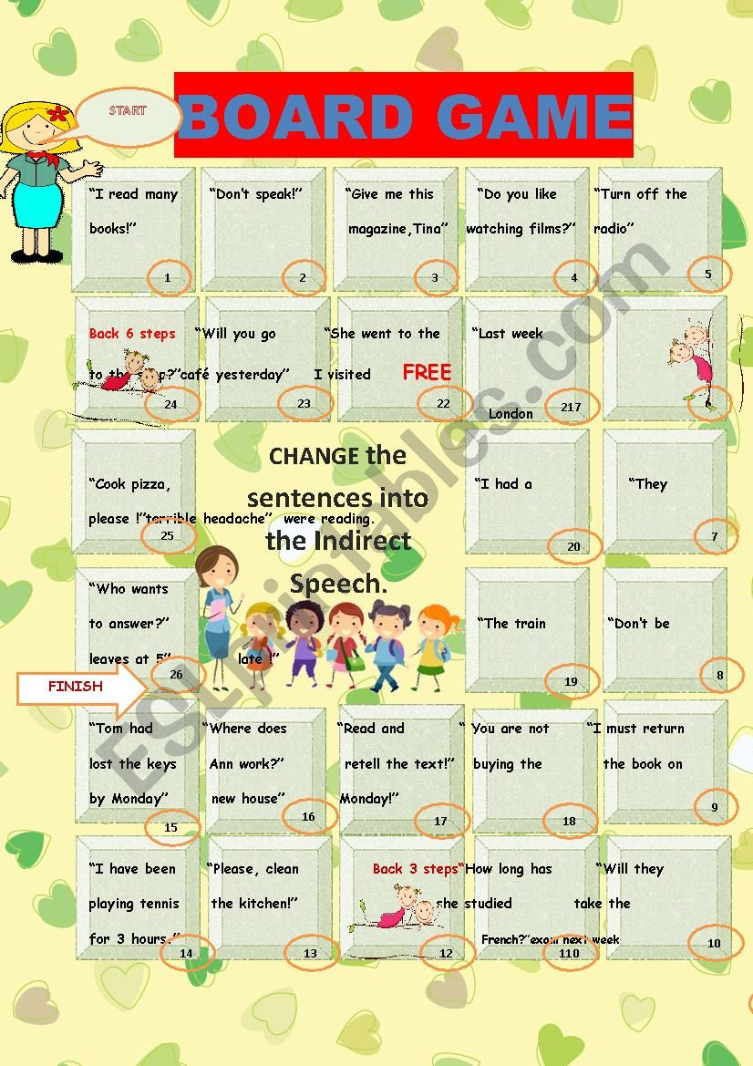 DIRECT, INDIRECT  SPEECH. BOARD GAME