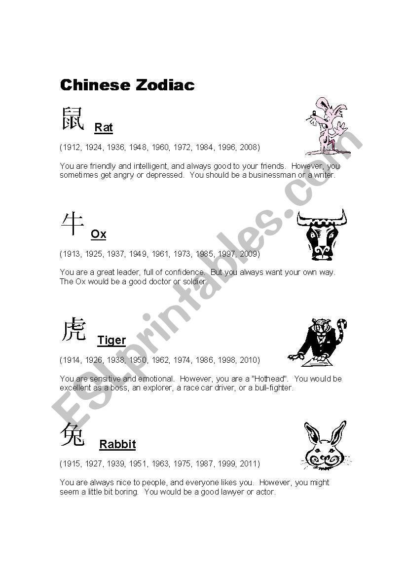 Chinese Zodiac - ESL worksheet by rickyjsilk