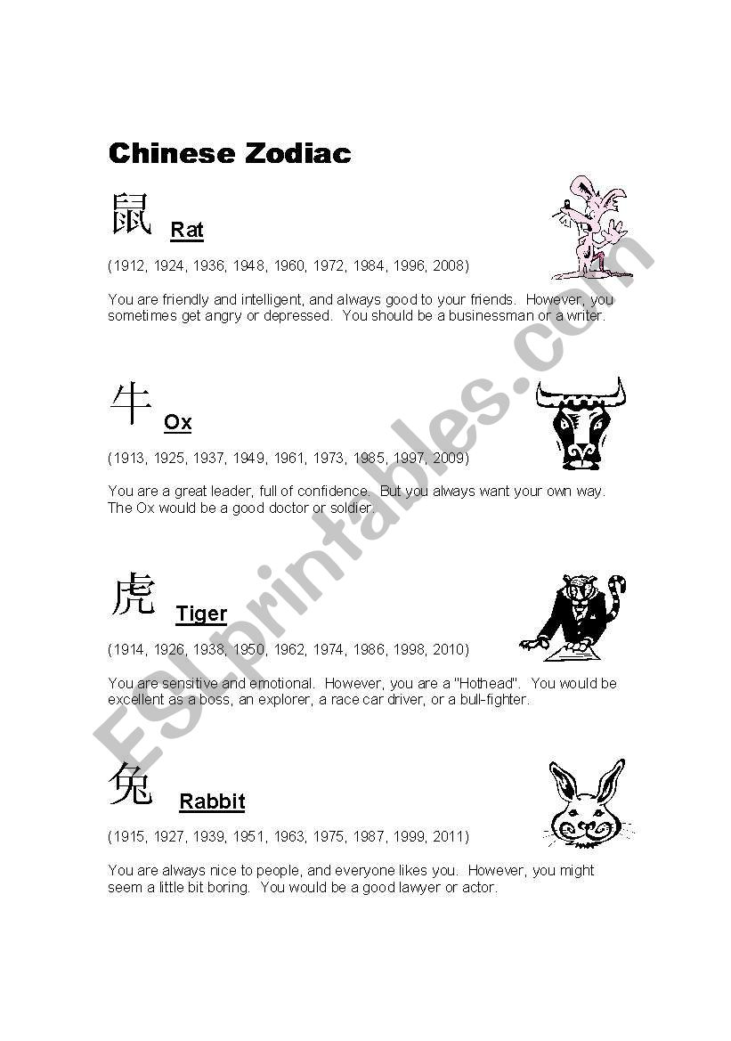 Chinese Zodiac worksheet