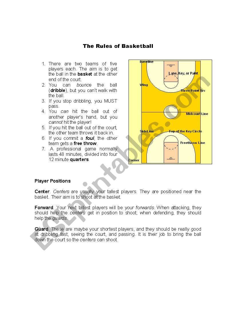 The Rules Of Basketball Esl Worksheet By Rickyjsilk