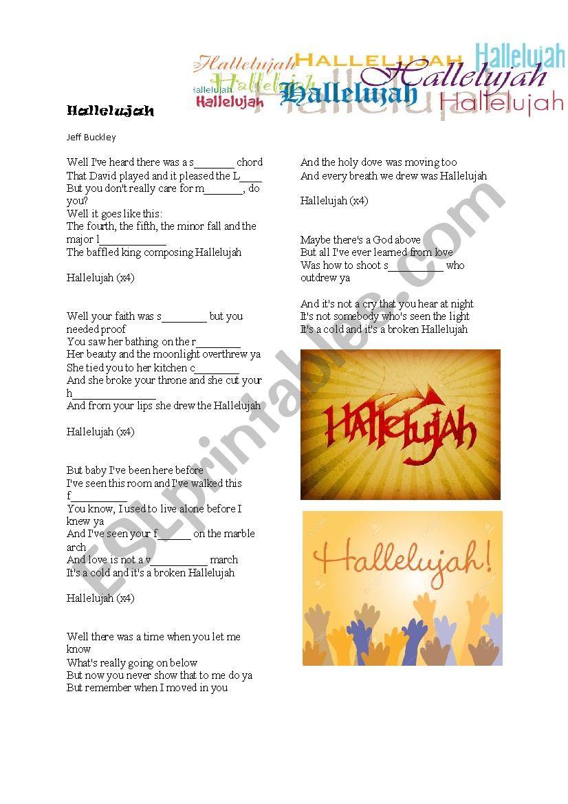 Hallelujah worksheet