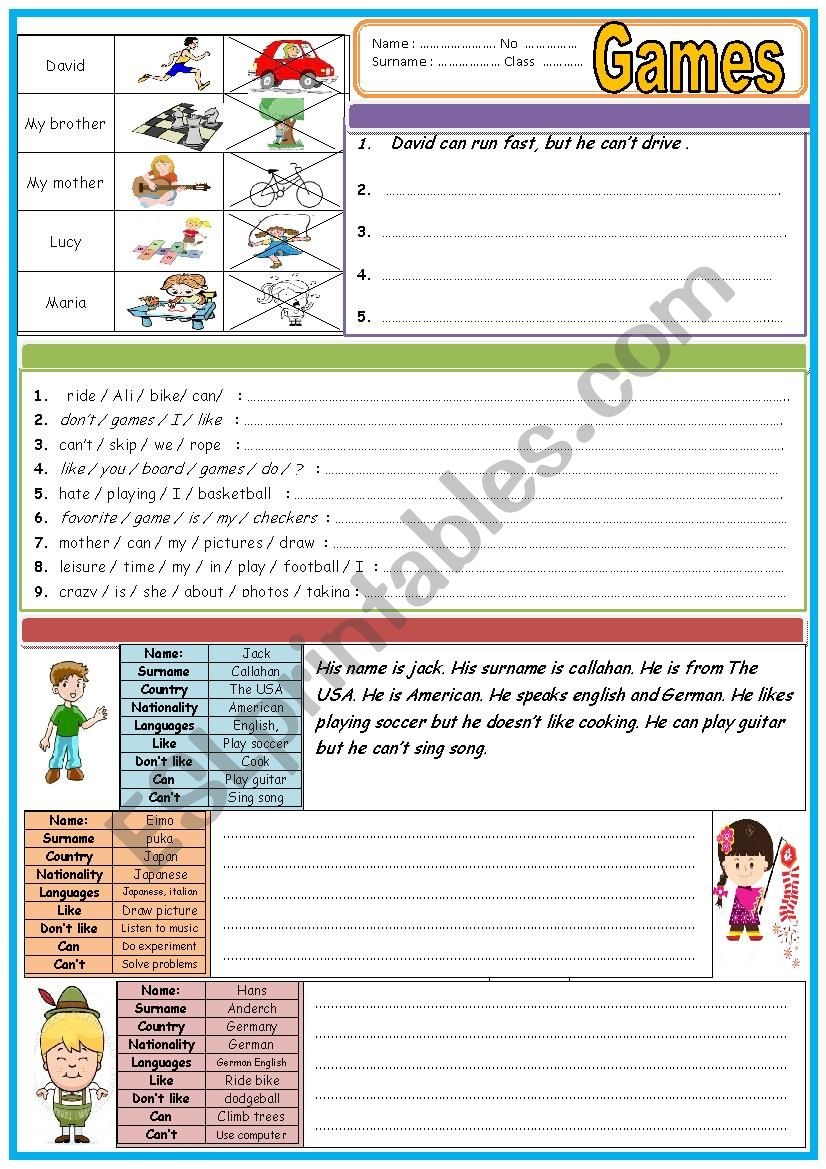 Exercises for 5th grade TWO PAGES - ESL worksheet by brcnvrl83