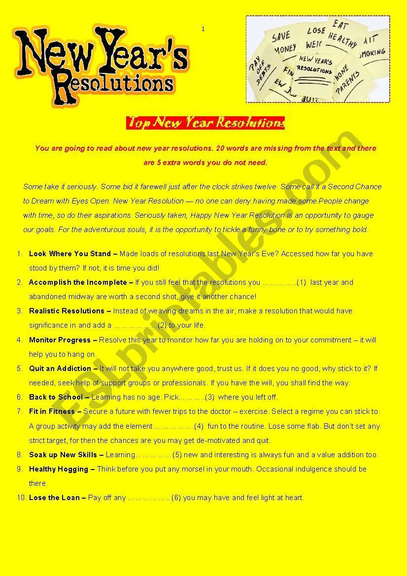 Top New Year´s Resolutions - reading comprehension and cloze test with key - fully editable
