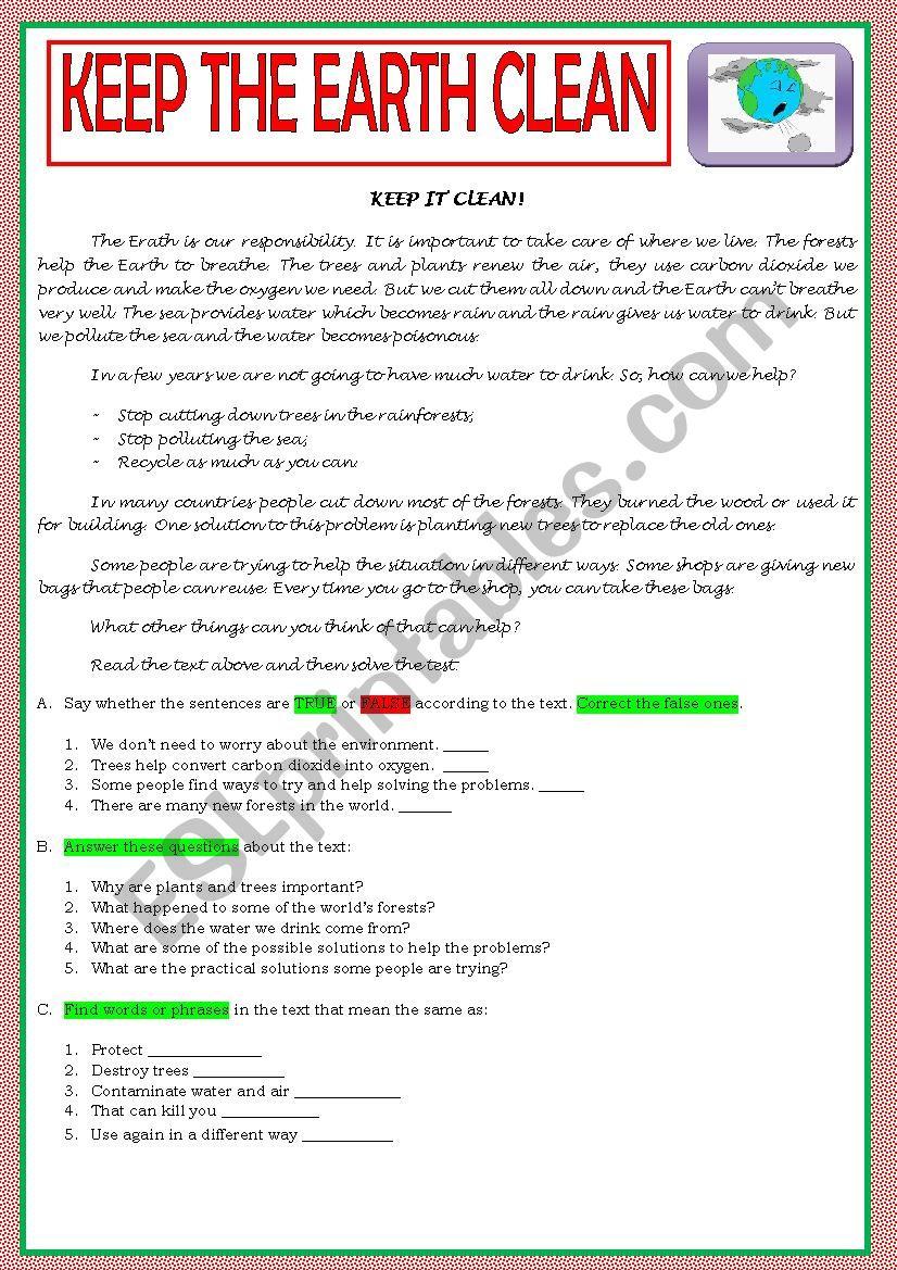 KEEP THE EARTH CLEAN - ENVIRONMENT TEST A