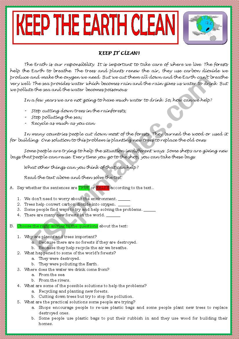 KEEP THE EARTH CLEAN - ENVIRONMENT TEST B
