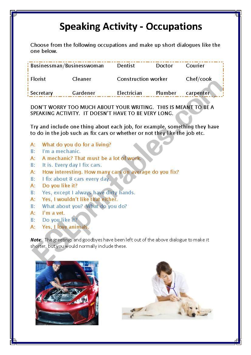 Occupation speaking activity worksheet