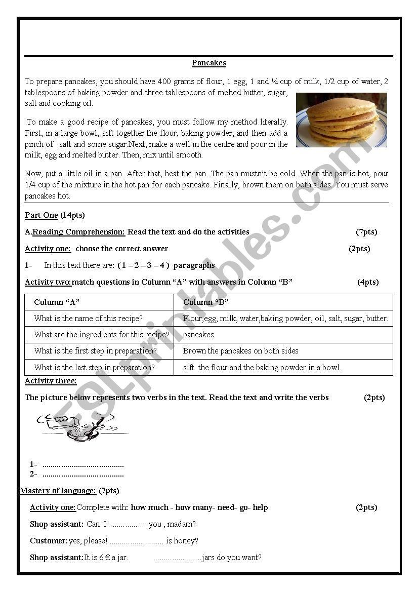 To prepare pancakes worksheet