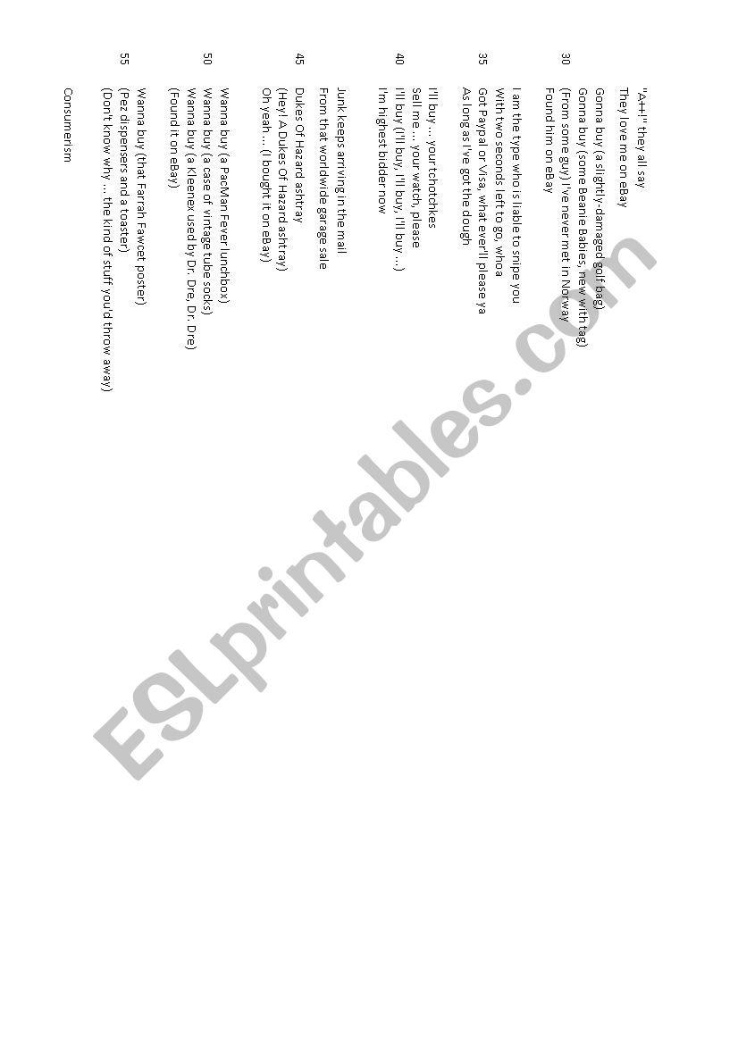 Ebay Parody Song Weird Al Yankovic Esl Worksheet By Fredacaudron