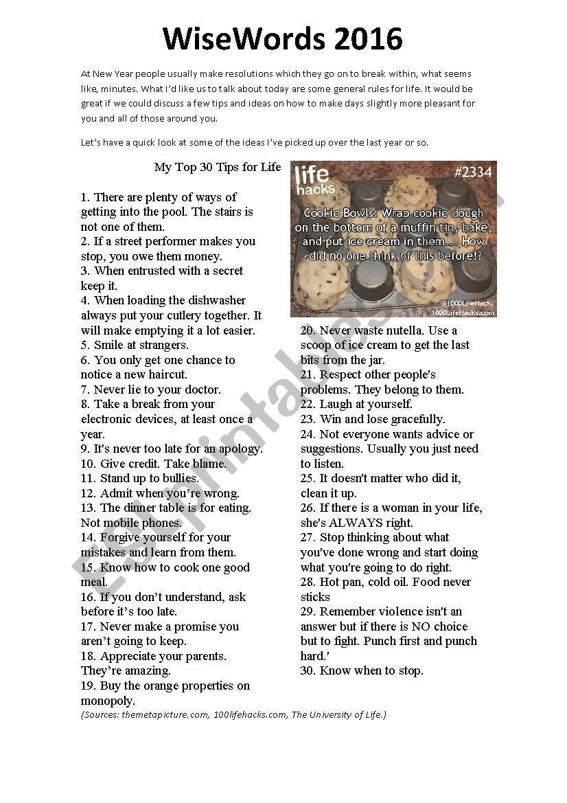 New Years Tips and Life Hacks worksheet