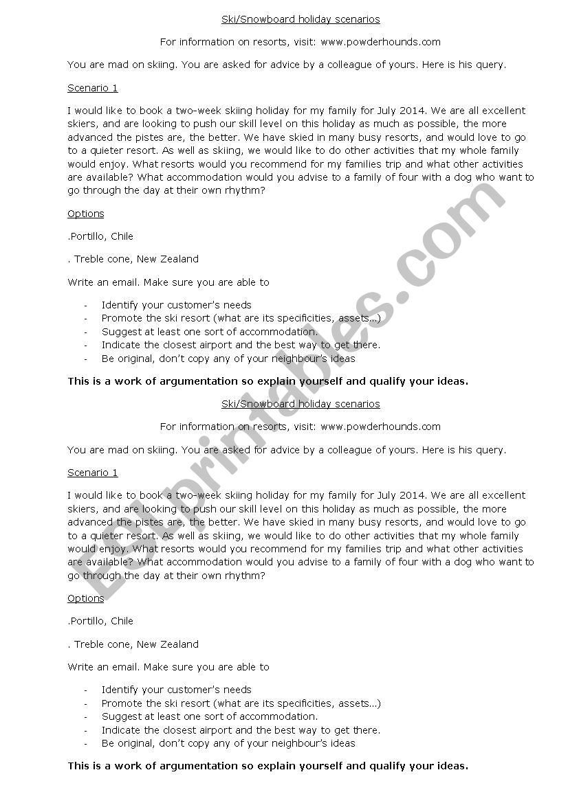Advising a ski resort worksheet