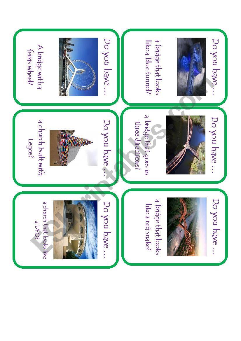 Unusual Structures Go Fish worksheet
