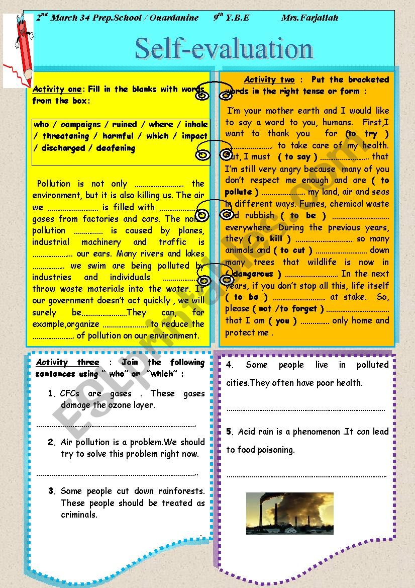 self-evaluation worksheet