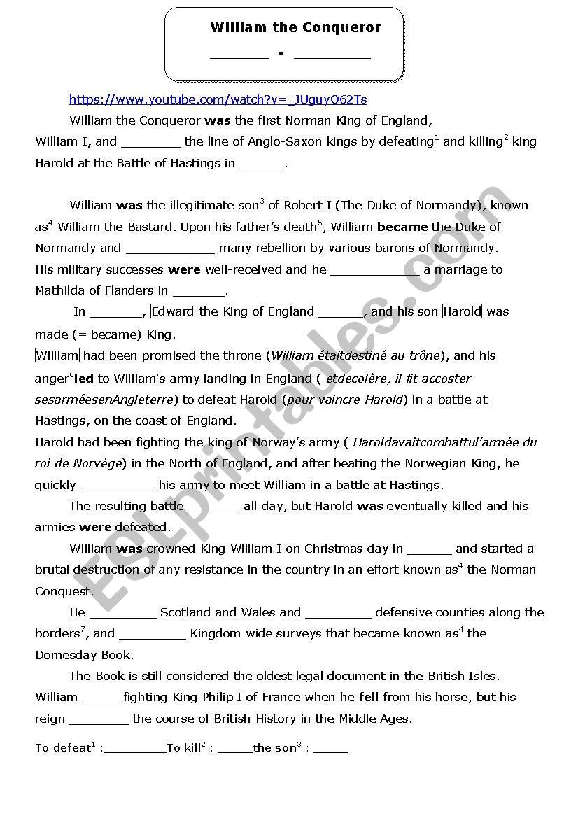 William the Conqueror  worksheet