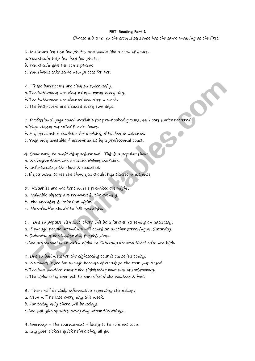 KET Reading Part 1 Exam Practice