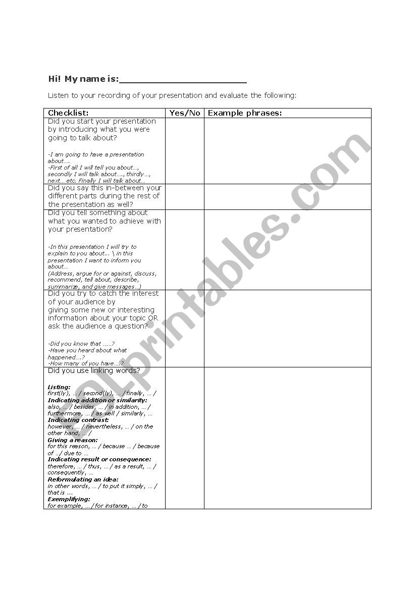 Self evaluation form on recorded presentations